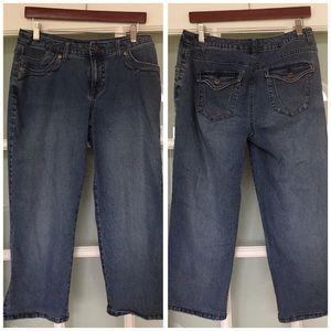SOMOMA denim high rise blue jeans crop 10 P